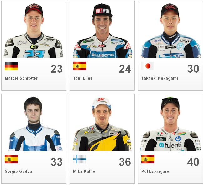 Gambar Nama Pembalap Rider Kelas Moto2 2013 Lengkap