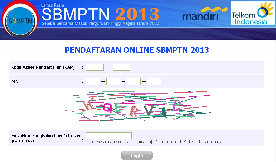ujian.sbmptn.or.id Pendaftaran Online SBMPTN 2013