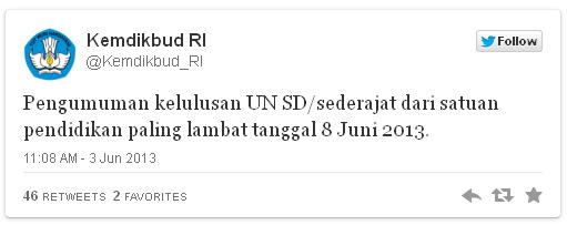 Pengumuman Hasil UN SD 8 Juni 2013