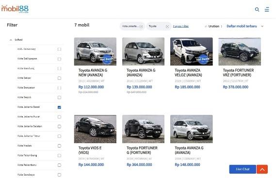 Filter Pencarian Mobil Bekas di Mobil88